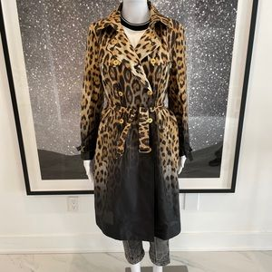 Roberto Cavalli Ombré Leopard Silk Trench
